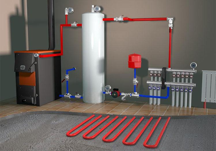 Схематичное изображение отопительной системы