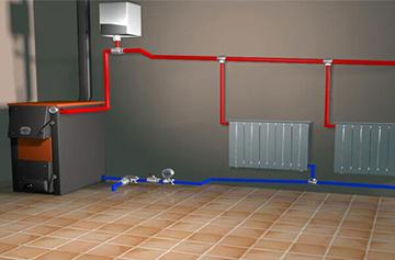 Схематиченое изображение монтажа отопительной системы