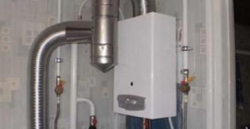 Газовый проточный водонагреватель Нева Люкс в установленном виде