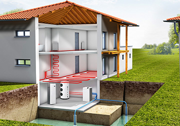 Система геотерамального отопления с использованием теплового насоса