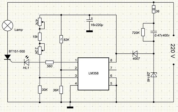 Схема простого регулятора температуры